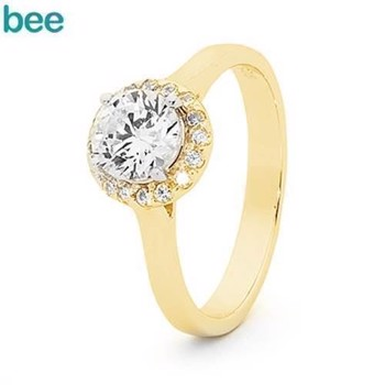 Bee Jewelry  9 kt guld Fingerring blank, model 25521-CZ