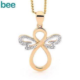 Bee Jewelry Angel 9 karat blank med diamanter, model 65599