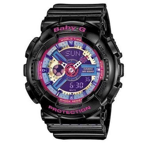 Baby-G sort resin med stål quartz multifunktion (5338) Dame ur fra Casio, BA-112-1AER