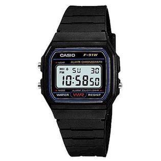 Classic sort resin quartz multifunktion (593) Herre / Junior ur fra Casio, F-91W-1YER