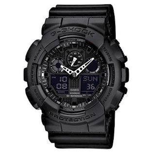 G-Shock sort resin med stål quartz multifunktion (5081) Herre ur fra Casio, GA-100-1A1ER