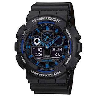 G-Shock sort resin med stål quartz multifunktion (5081) Herre ur fra Casio, GA-100-1A2ER