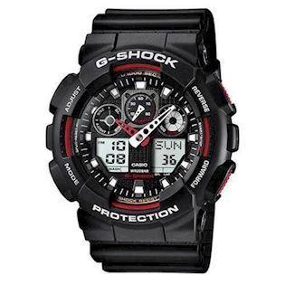 G-Shock sort resin med stål quartz multifunktion (5081) Herre ur fra Casio, GA-100-1A4ER
