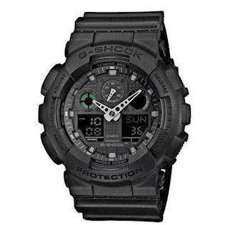 G-Shock sort resin med stål quartz multifunktion (5081) Herre ur fra Casio, GA-100MB-1AER