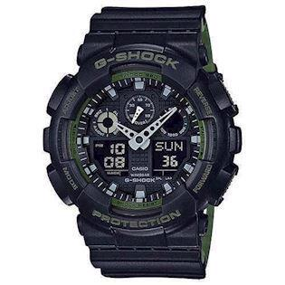 G-Shock mat sort resin med stål quartz multifunktion (5081) Herre ur fra Casio,  GA-100L-1AER