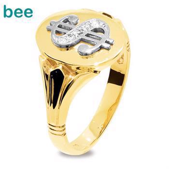 "Bee Jewelry Men´s Diamond Ring - ""Dollar sign"" 9 kt guld fingerring blank, model 25290"