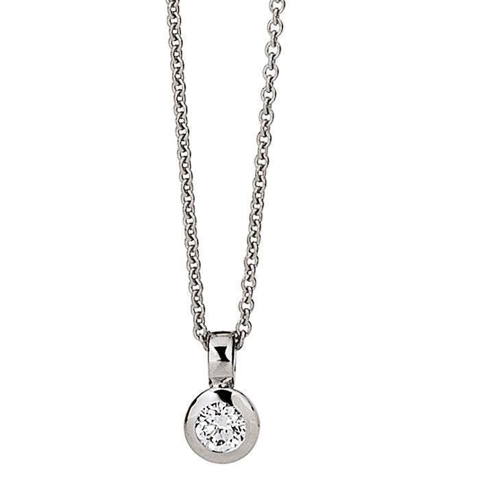 00cb0da8ac5 blank 14 kt hvidguld vedhæng med kæde diamant 0,05 ct med blank overflade  fra Aagaard
