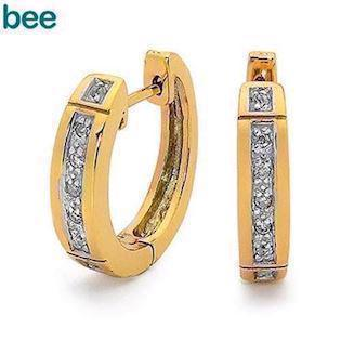 Bee Jewelry Diamond Huggie 9 kt guld ørestikker blank, model 55509