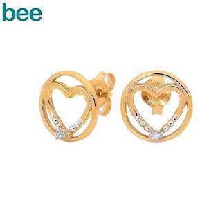 Bee Jewelry Heart in Circle 9 kt guld ørestikker blank, model 55575