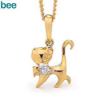 Bee Jewelry Kittie Cat 9 kt guld collier blank, model 65464
