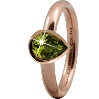 Christina Collect rosa forgyldt ring - Peridot Pearl*