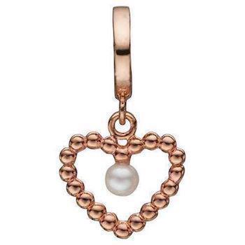 Christina Collect 925 sterling sølv Bubbly Pearl Love rosaforgyldt bobbel hjerte med lille perle, model 610-R59