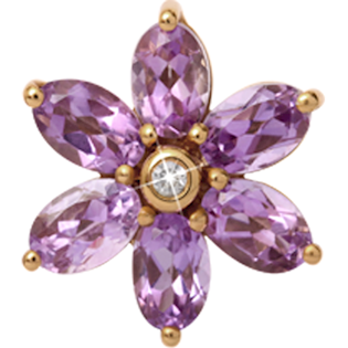 650-G04 , Christina Collect Big Amethyst Flower rings