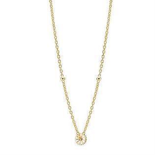 Lund Copenhagen 7,5 mm Marguerit sølv collier forgyldt, model 902375-M