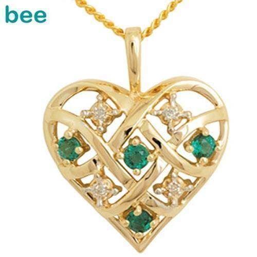 ad5a1c99f18 Guld hjerte vedhæng med 4 x 0,005 ct diamant og 4 x smaragd