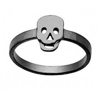 sort rhodineret sølv Skull Top fingerring matteret fra Zöl