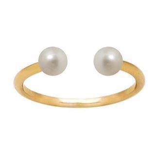 forgyldt sterling sølv Pearl Duo Top fingerring blank fra Zöl